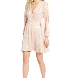 Astr Burnout pink long sleeve wrap dress